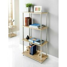 4 Tier Shelf Display Unit Free Standing Book Stand Shelves Oak Effect