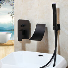 Bathroom Black Waterfall Spout Wall Mounted Shower faucet Set+Handheld Mixer Tap