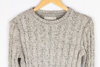 Vintage Superdry Orange Label Men Jumper Cable Knit Cotton Crew Neck size S