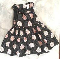 Janie & Jack Dress Black Pink Floral Polka Dots Baby Girl 6-12 Months Sleeveless