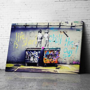 Life Is Short Chill The Duck Out Banksy Canvas Wall Art Prints Graffiti