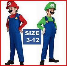 KIDS SUPER MARIO LUIGI BROTHERS PLUMBER COSTUME + HAT & MOUSTACHE Size 3-12 year
