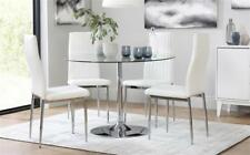 Orbit & Leon Round Glass & Chrome Dining Table And 4 Chairs Set (White)