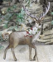 GISELA GRAHAM CHRISTMAS ROSE WOOD STAG REINDEER DECORATION
