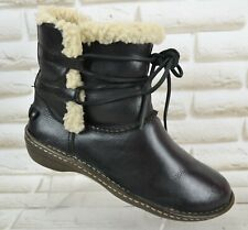 UGG Rianne Womens Black Leather Outdoor Ankle Boots Shoes Size 6.5 UK 39 EU