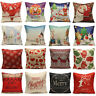 Christmas Tree Santa Deer Cotton Pillow Case Cushion Cover Home Decor Gift