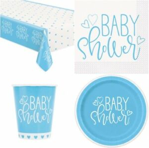 Blue Baby Shower Boys Blue Heart Party Supplies Tableware Balloons Decorations