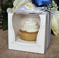 25pcs White Cupcake Muffin Cake Boxes Party Shower Favor Gift Container 3.5""