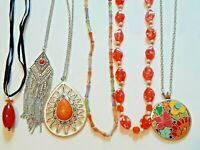 6 beautiful necklaces. Orange stone pendant, silver tone chains, speckled beads