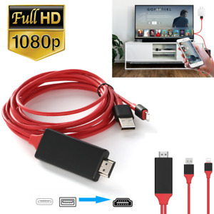 HDMI Mirroring AV Cable Phone to TV HDTV Adapter For iPhone iPad 12 11 X XR 8 7