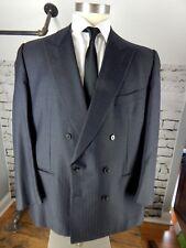Dark Gray Pin Striped ERMENEGILDO ZEGNA Double Breasted 50 Long Sport Coat