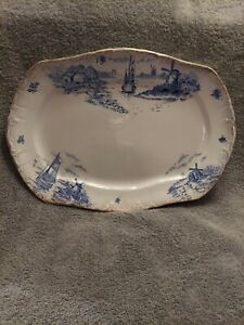 DELPH BLUE & WHITE WITH GOLD TRIM PLATTER 16 LONG