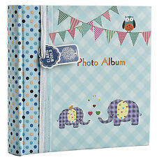 Bebé Niño Azul Memo Slip En Álbum de Fotos 200 6x4 Fotos Elefante Kids-ba-9851