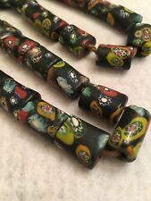 """20.75"""" Vintage Nepal Graduated Black/Multi Color Fused Art Glass Trade Beads"""
