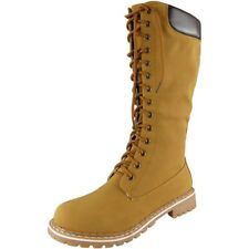 Womens Mid Calf BOOTS Ladies Lace up Low Heel Combat Winter Flat Shoes Size UK 5 / EU 38 / US 7 Camel