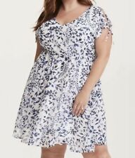 Torrid Floral Dress Size 4 Blue White Floral Chiffon Dress Tie Sleeve Cinched