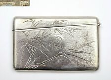 1930's Chinese Solid Silver Card Case Bamboo Motif Monogram Marked 81 Gram