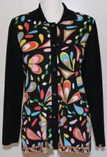 Exclusively Misook Funky 60's Print Cardigan Jacket Jeweled Buttons Size Small