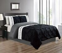 Twin Size Black/Grey/Gray Double-Needle Pinch Pleat Comforter Set