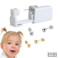 Ear Piercing Kit - Children Silver Gold Short Post Stud Earring Gun Home Self