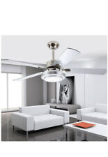 Modern Ceiling Fan With LED Light and Remote Control 4 Wood Reversible Blades...