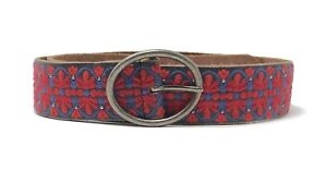 Lucky Brand Women's XS - Red/Blue Floral Tile Embroidered Black Leather Belt
