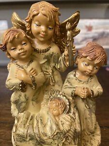 Retro Ancienne Boîte à musique Italy Anges Jésus Vintage Christmas Music Box