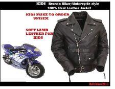 KIDS Brando Vintage Motorcycle Bikers / Classic UNISEX SOFT LAMB Leather Jacket