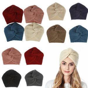 Autumn Winter Cap Head Cover Bandana Turban Women Solid Color Headscarf