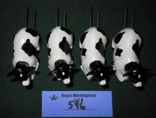 4 Spotted Milk Dairy Cow Corn On The Cob Holders