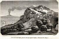 Capri: Panorama con Vesuvio. Stampa Antica + Passepartout. 1845