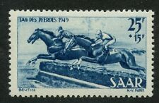 Germany SAAR France Occupation 1949 Horse DAy 25+15f blue MINT light hinge