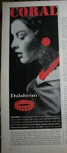 1959 Vintage DALSHEIM Coral Italiano Necklace Bracelet Earrings JEWELRY Ad