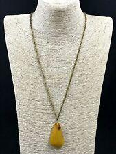 Old Vintage Baltic Amber Pendant Egg Yolk Butterscotch Bronze Chain 16,3g 9991