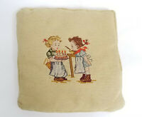"""VINTAGE NEEDLEPOINT PILLOW BOY AND GIRL WITH BIRTHDAY CAKE 12"""" x 12"""""""