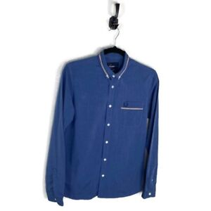 Fred Perry Slim Fit Long Sleeve L/S Button Down Shirt Blue Men's Size Small EUC