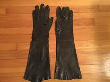 Long Elbow Length Black Leather Vintage Gloves Small Size 6 1/4