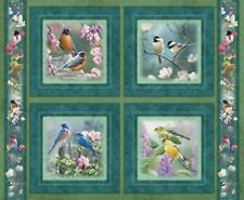 4 Backyard Birds Heavens Breath Pillow Panels Fabric 100% Cotton Wild Wings