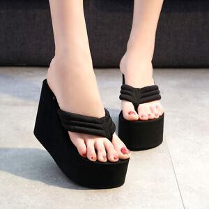 Womens Summer Wedge Slippers Platform High Heels Sandals Beach Casual Shoes Plus