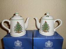 Set Of 2 SPODE Christmas Tree Teapot Salt & Pepper Shakers England