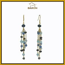 CHALCEDONY IOLITE EARRINGS STERLING SILVER DANGLING CHANDELIER BEADS HAND MADE