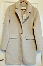 Anthropologie Sand Beige Sable Checked Wool Blend Coat UK Size 12 BNWT £198