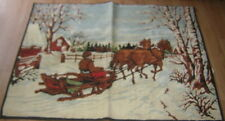 """VINTAGE PRIMATIVE 40""""x54"""" RED BARN WINTER BOBSLED SLEIGH HORSES Made in Belgium"""