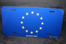 EUROPEAN UNION FLAG METAL NOVELTY LICENSE PLATE TAG FOR CARS UNION EUROPÉENNE