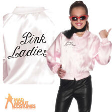 Grease Girls Pink Ladies Jacket Fancy Dress Costume Outfit Kids Lady Child Sandy Large (age 10 - 12 Years)