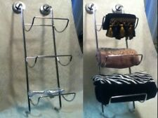 "3 Tier Towel 28"" Wall Mount Magazine Art Wine Rack Silver Metal Chrome Shelf"