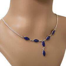 Lapislazuli Halskette Silber 925 Collier 40cm Kette  6 Cabochon Edelsteine blau
