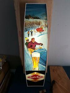 (VTG) 1970 grain belt beer snowmobile light up sign (nos) old stock Mn