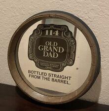"Vtg Old Grand Dad Kentucky Straight Whiskey Wall Barrel Mirror 15"" X 15"""