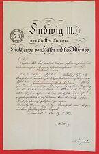 Bestallungsurkunde LUDWIG III. VON HESSEN, Großherzog Hessen-Darmstadt, 1874